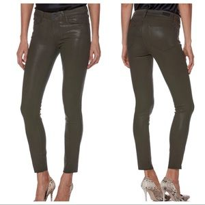 Paige Verdugo Ankle Skinny Jeans Green Coated 28